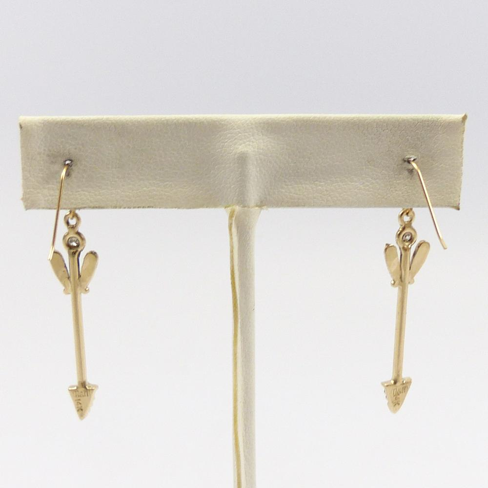 Diamond and Gold Arrow Earrings