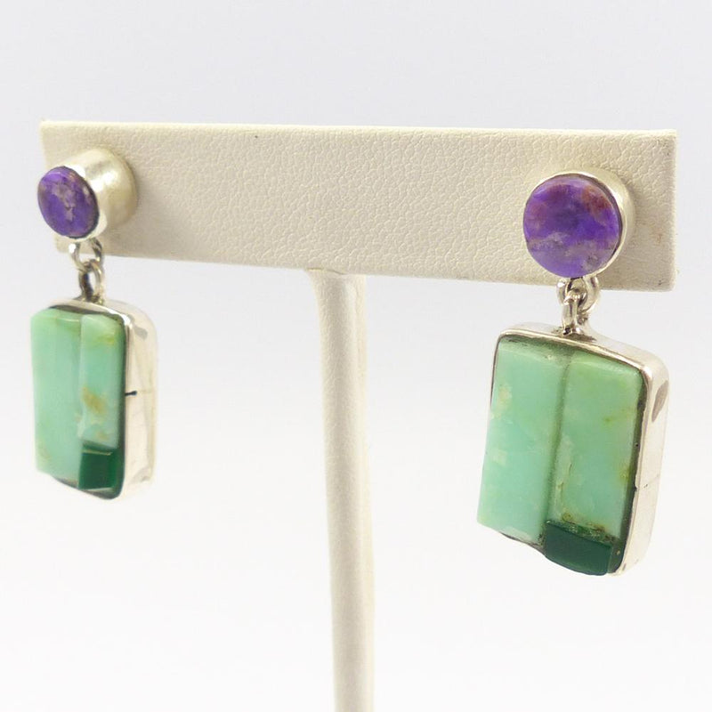 Sugilite and Chrysoprase Earrings