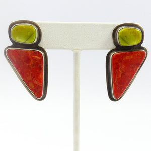 Gaspeite and Coral Earrings