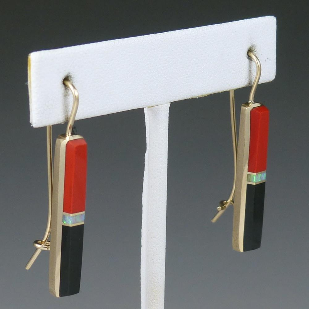 Gold Inlay Earrings - Jewelry - Duane Maktima - 1