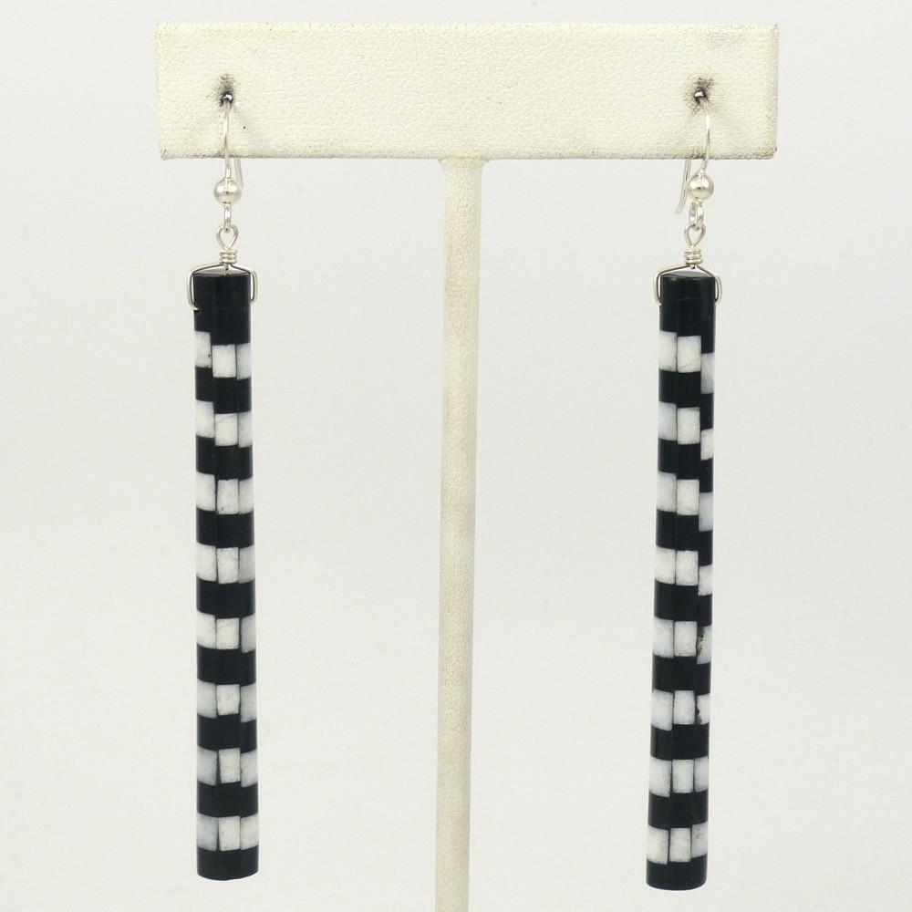 White Marble and Jet Earrings - Jewelry - Me-Wee and Nick Rosetta - 1