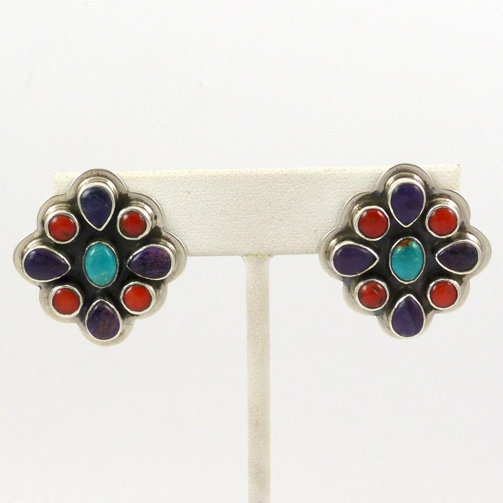 Turquoise, Coral, and Sugilite Earrings - Jewelry - Noah Pfeffer - 1