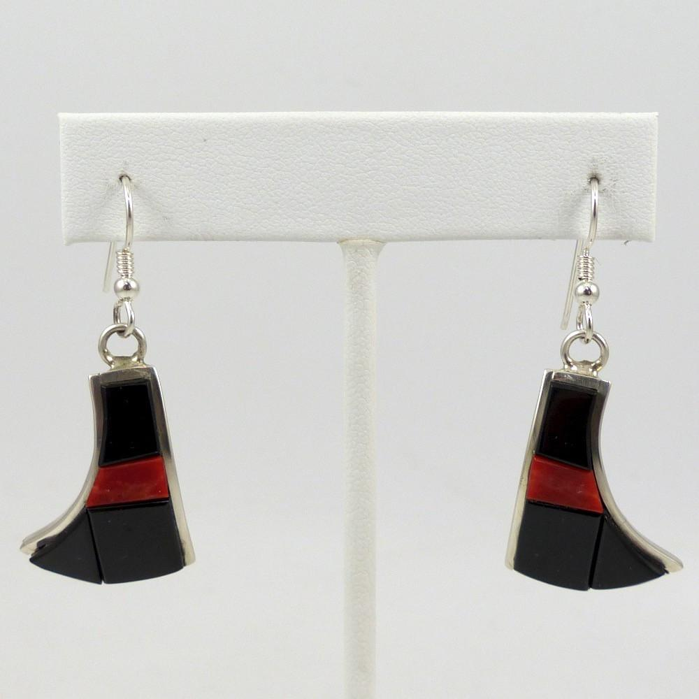 Black Jade and Coral Earrings - Jewelry - Michael Dukepoo - 1