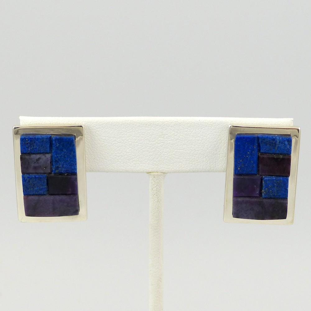 Sugilite and Lapis Earrings - Jewelry - Tommy Jackson - 1