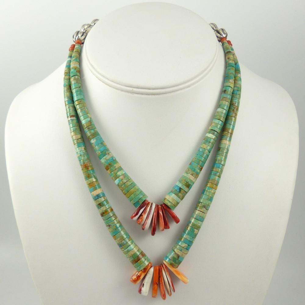 Turquoise and Shell Jacla Necklace - Jewelry - Mary Lovato - 1