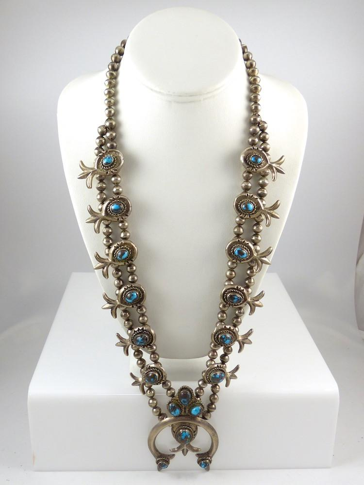 1940s Persian Turquoise Squash Blossom Set - Jewelry - Vintage Collection - 1