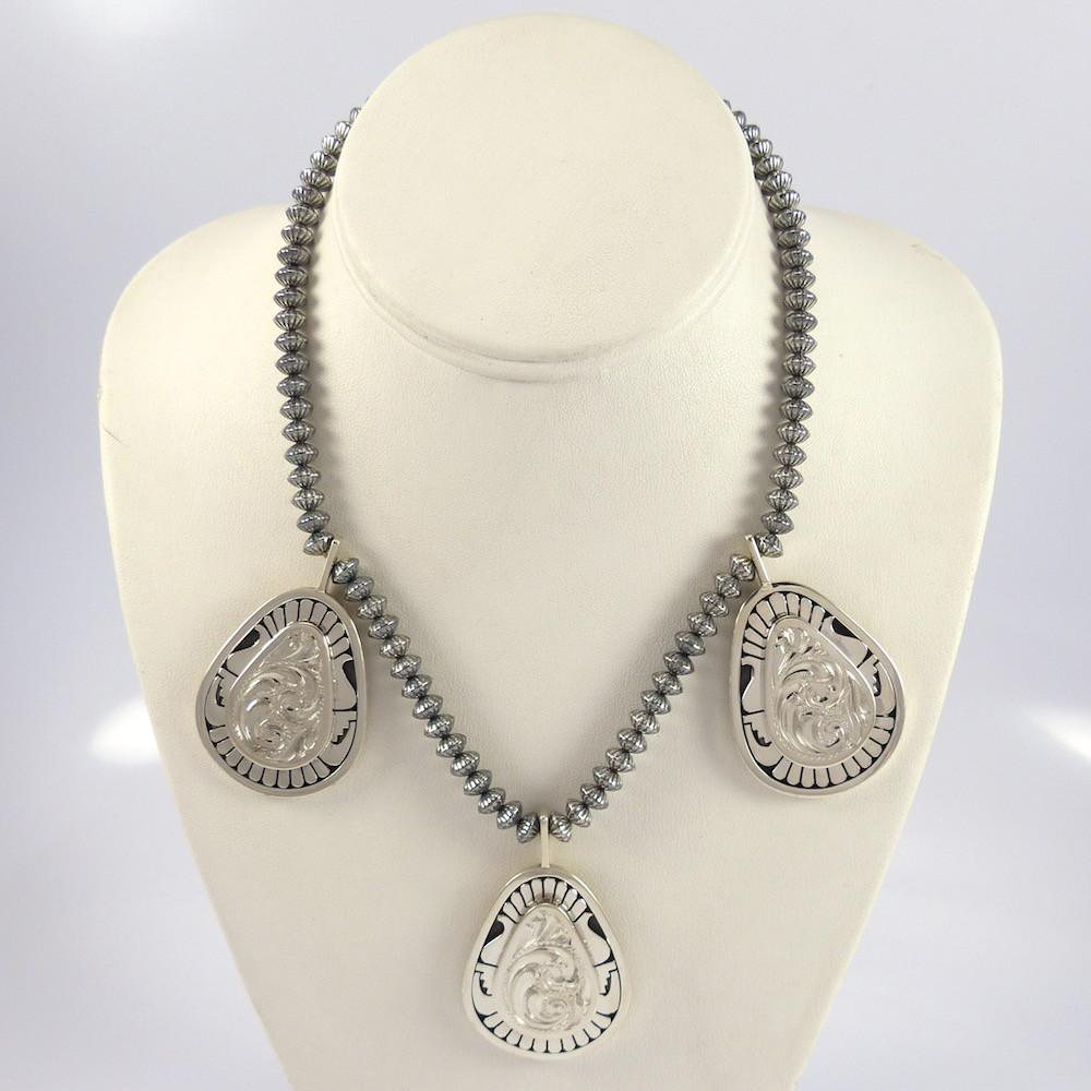 Silver Necklace and Earring Set - Jewelry - Leonard Nez - 1
