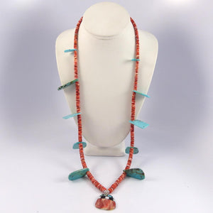 Turquoise and Spiny Oyster Necklace - Jewelry - Joe Jr. and Valerie Calabaza - 1