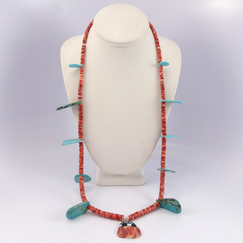 Turquoise and Spiny Oyster Necklace - Jewelry - Joe Jr. and Valerie Calabaza - 2