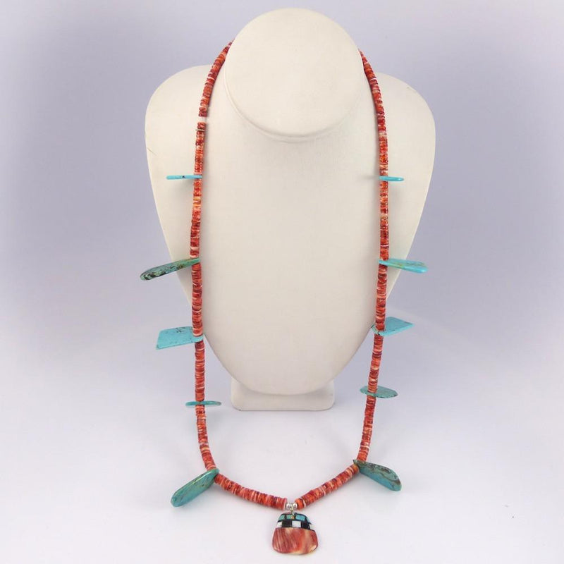 Turquoise and Spiny Oyster Necklace - Jewelry - Joe Jr. and Valerie Calabaza - 3