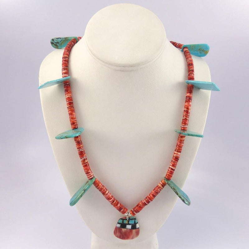 Turquoise and Spiny Oyster Necklace - Jewelry - Joe Jr. and Valerie Calabaza - 4