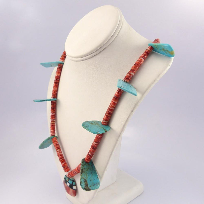 Turquoise and Spiny Oyster Necklace - Jewelry - Joe Jr. and Valerie Calabaza - 6