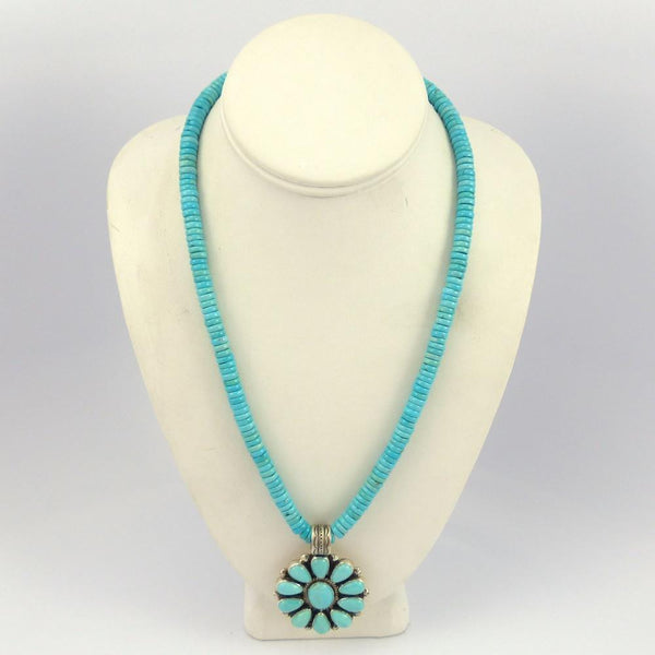 Sleeping Beauty Turquoise Necklace with Cluster Pendant