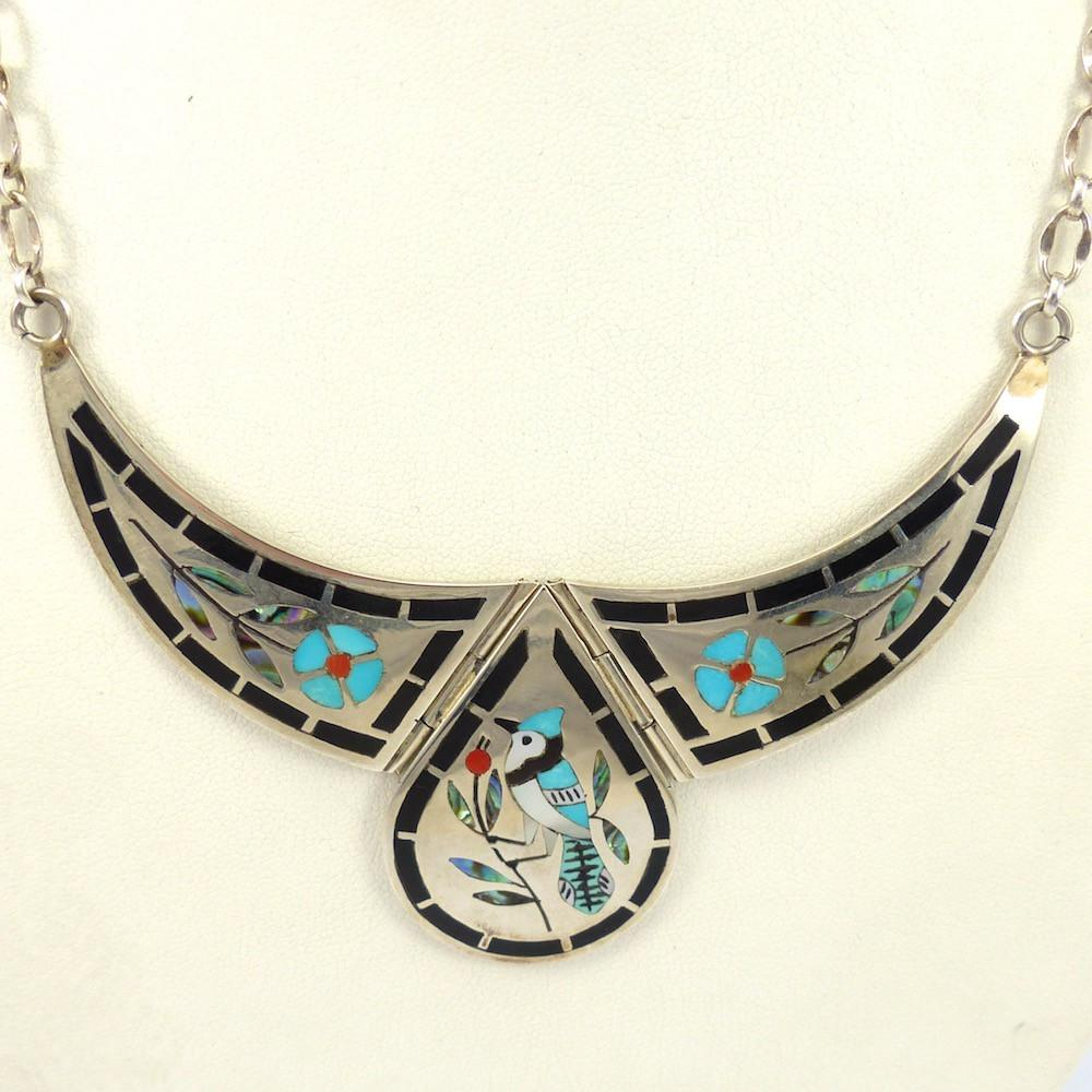 1970s Blue Jay Necklace, Dennis Edaakie, Jewelry, Garland's Indian Jewelry