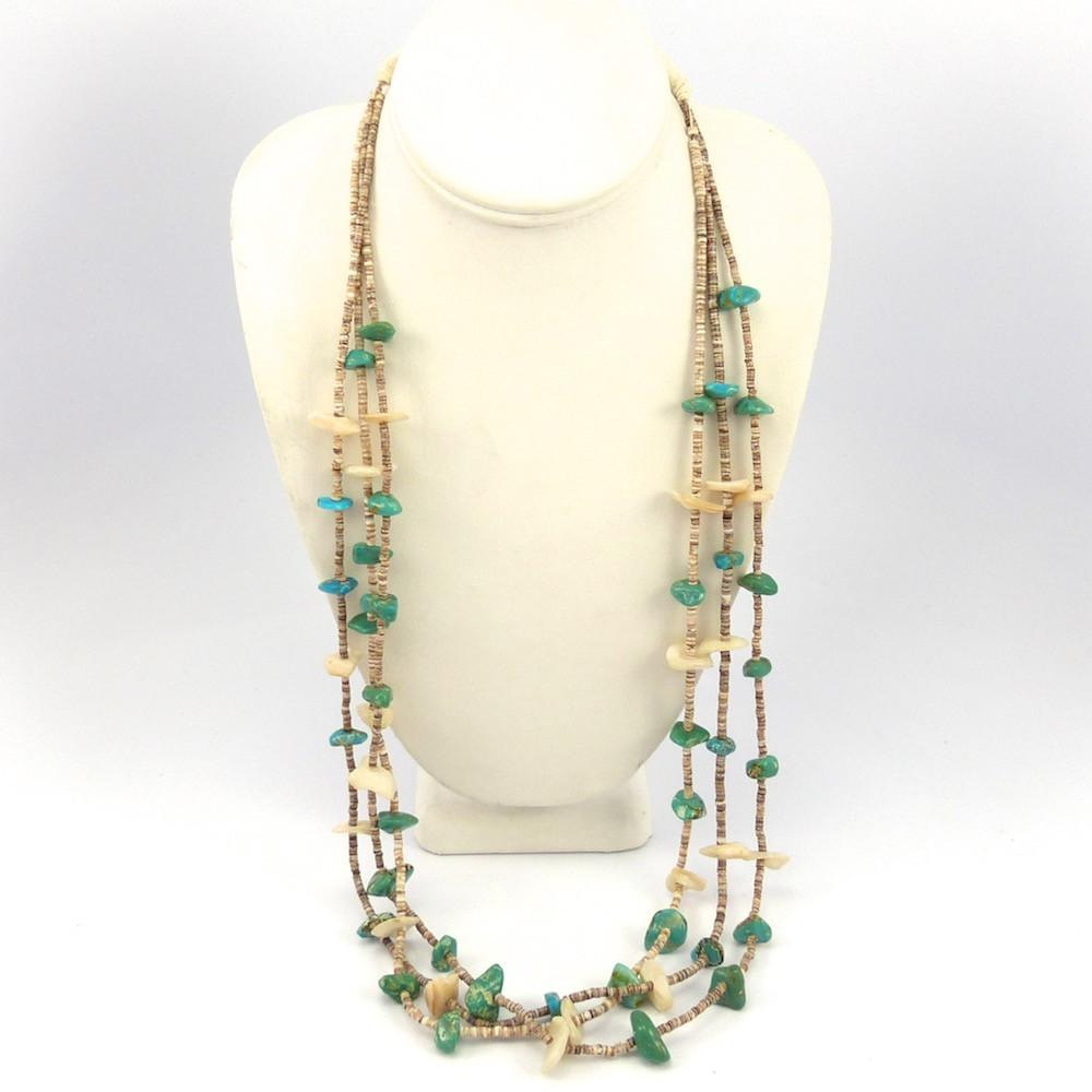 product strand shell heishi gemstone fetish triple bead earrings vintage southwest necklace