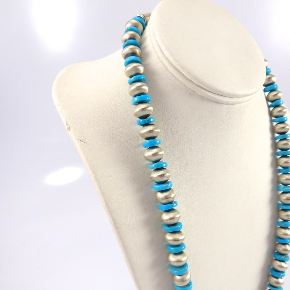Turquoise and Silver Bead Necklace - Jewelry - Don Lucas - 1