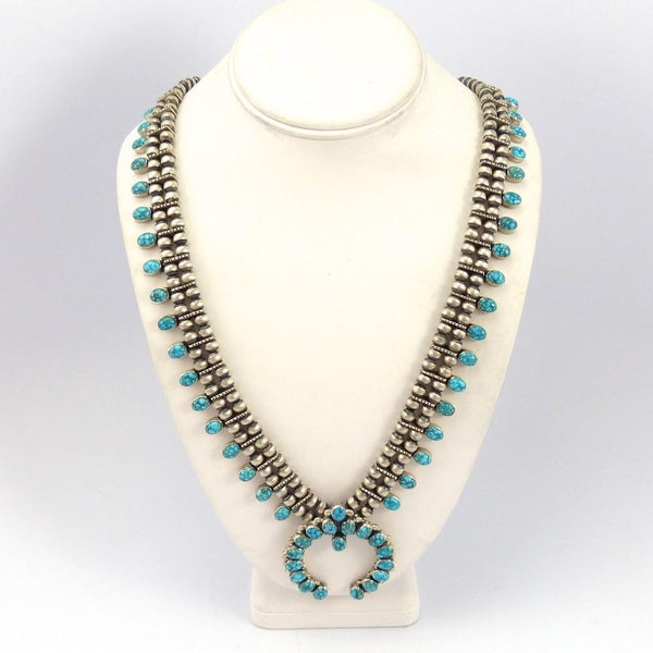 Kingman Turquoise Squash Blossom Necklace, Don Lucas, Jewelry, Garland's Indian Jewelry