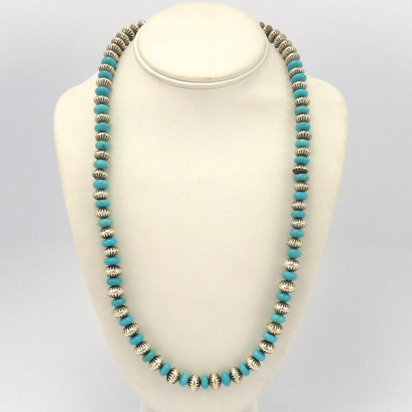 Turquoise and Silver Bead Necklace, Jed Deutschman, Jewelry, Garland's Indian Jewelry