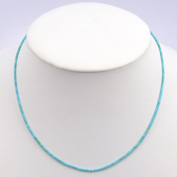 Kingman Turquoise Heishi Bead Necklace