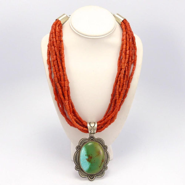 Coral Necklace with Royston Turquoise Pendant