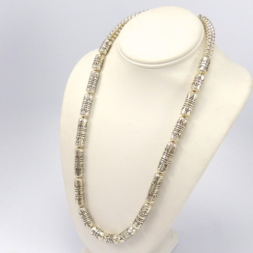 Stamped Silver Bead Necklace