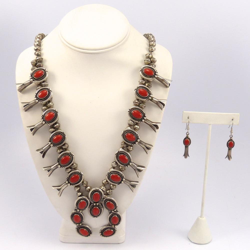 1970s Coral Squash Blossom Necklace and Earring Set, Vintage Collection, Jewelry, Garland's Indian Jewelry
