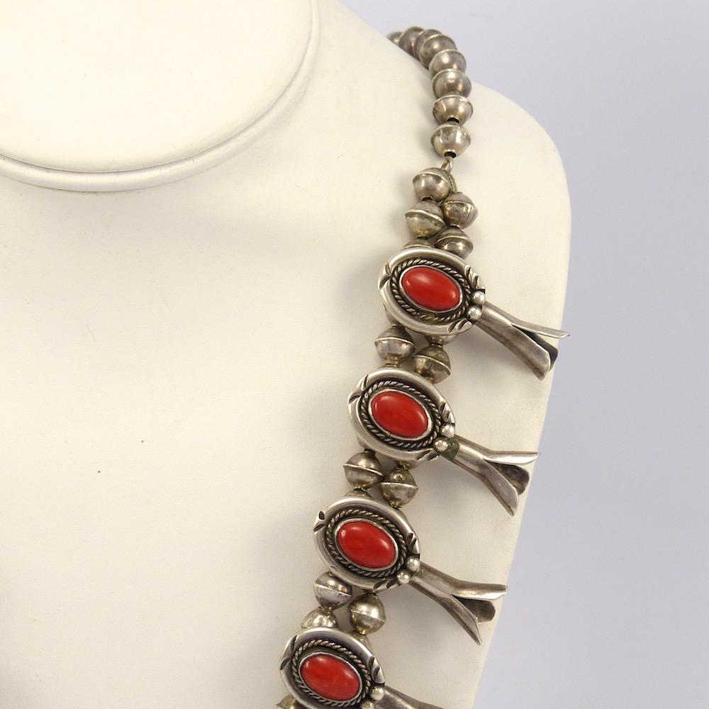 1970s Coral Squash Blossom Necklace And Earring Set