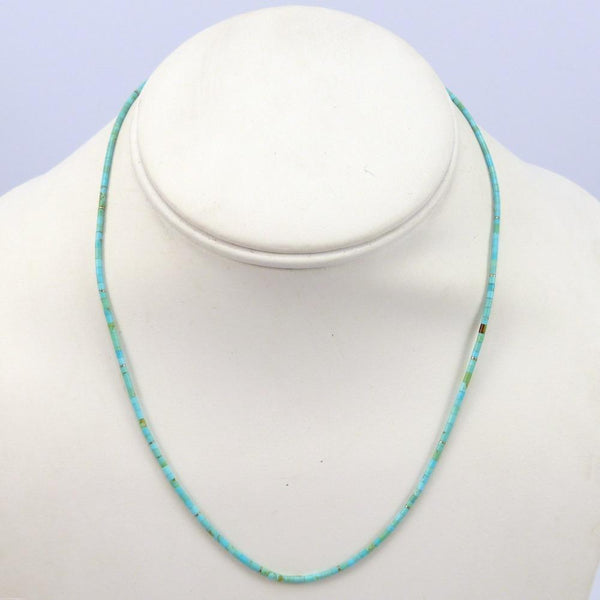 Kingman Turquoise Necklace, Joe Jr. and Valerie Calabaza, Jewelry, Garland's Indian Jewelry
