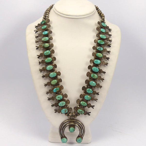 1930s Turquoise Squash Blossom Necklace