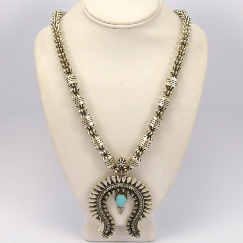 Lone Mountain Turquoise Squash Blossom Necklace