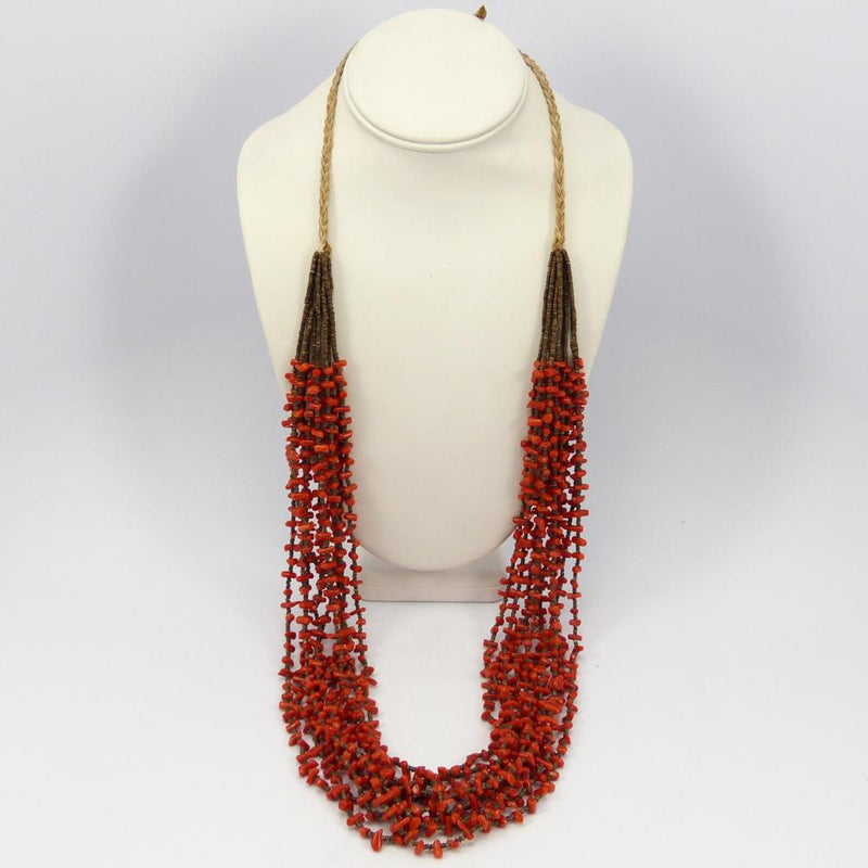 Coral and Shell Bead Necklace
