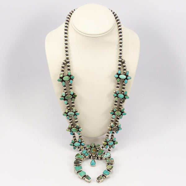 Carico Lake Turquoise Squash Blossom Necklace