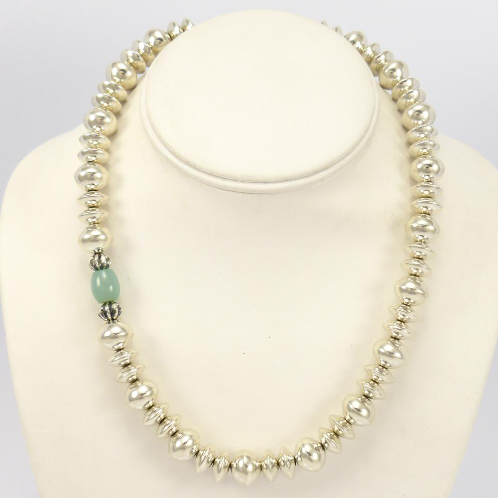 Chalcedony and Silver Bead Necklace