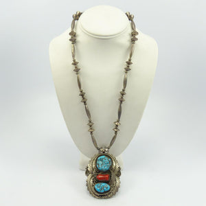 Silver Bead Necklace with Pendant