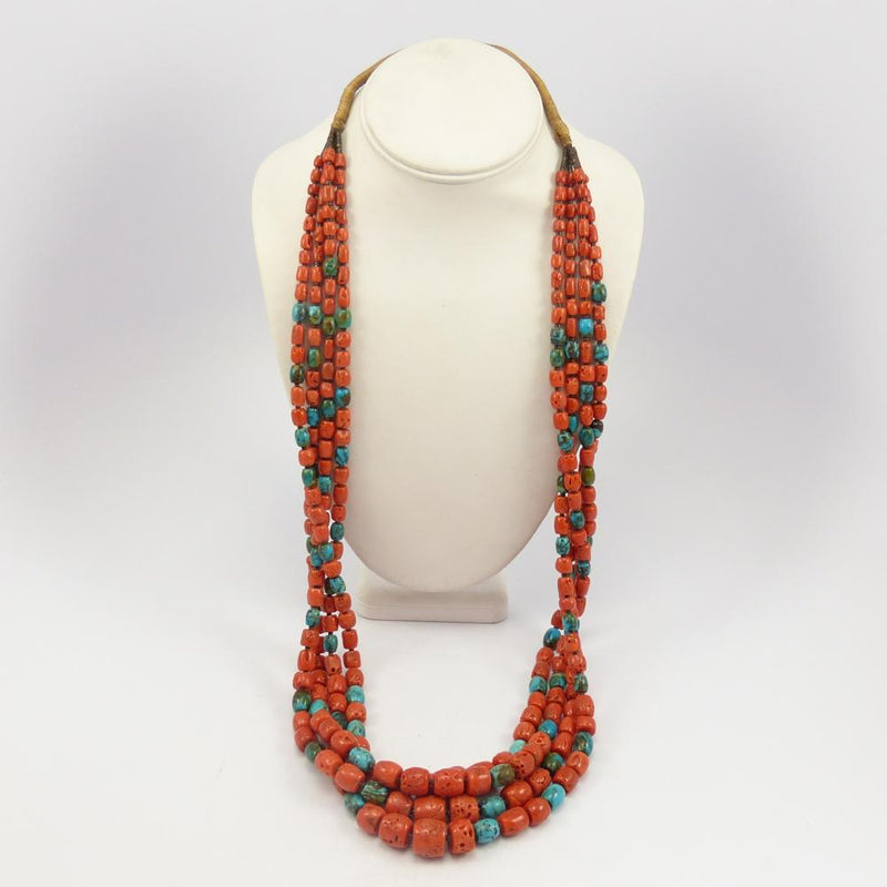 Coral and Turquoise Bead Necklace