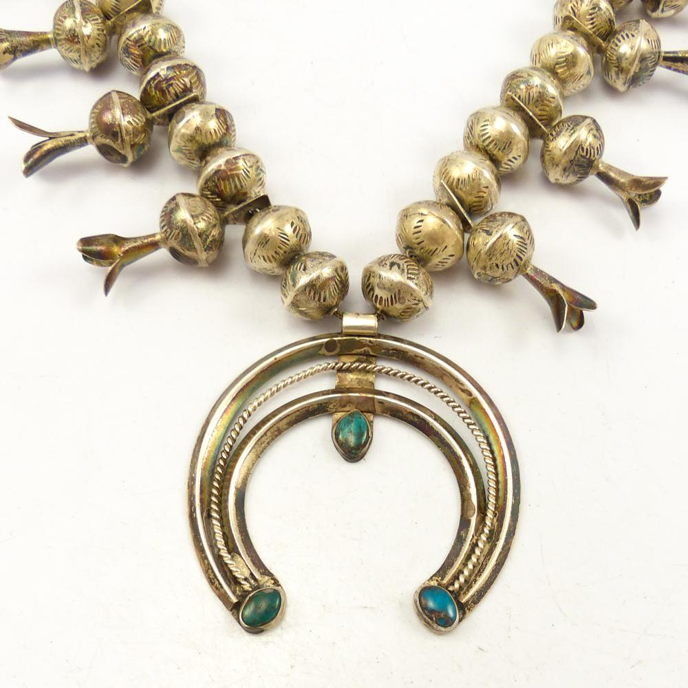 1940s Turquoise Squash Blossom Necklace