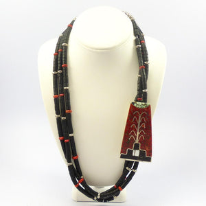 Jet and Coral Necklace