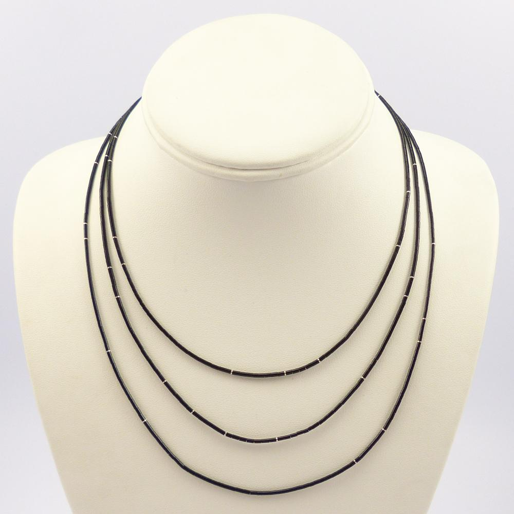 Long Jet Heishi Necklace