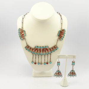 Vintage Inlaid Necklace and Earring Set