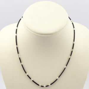 Jet and Silver Heishi Necklace