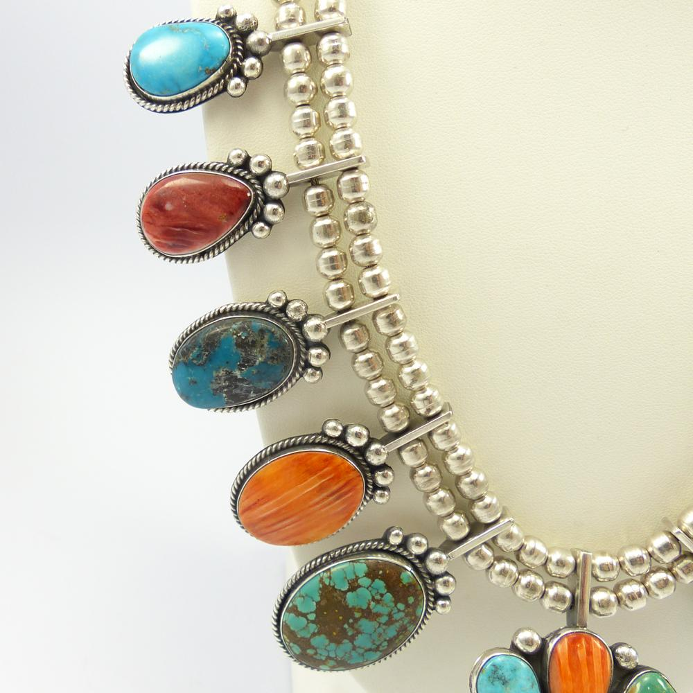 Multi-Stone Squash Blossom Necklace