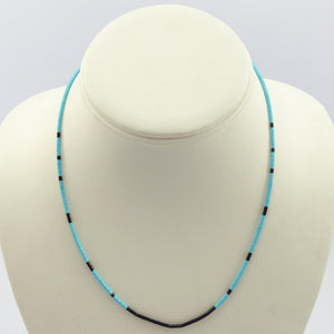 Turquoise and Jet Bead Necklace