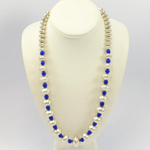 Glass and Silver Bead Necklace