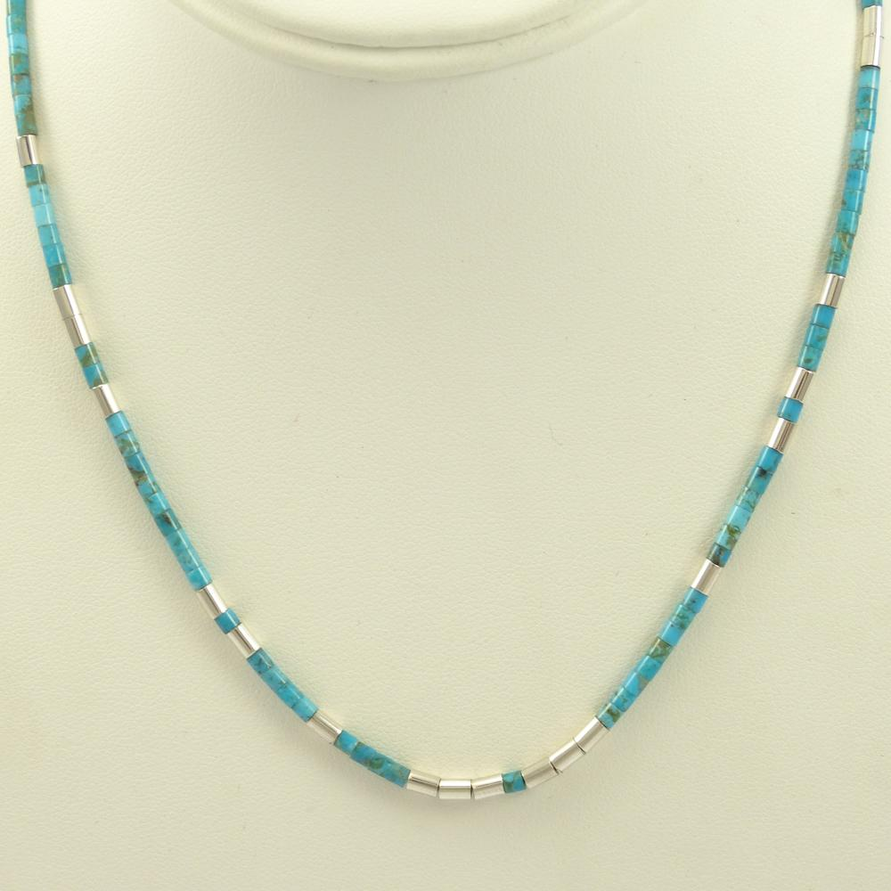 Turquoise and Silver Bead Necklace