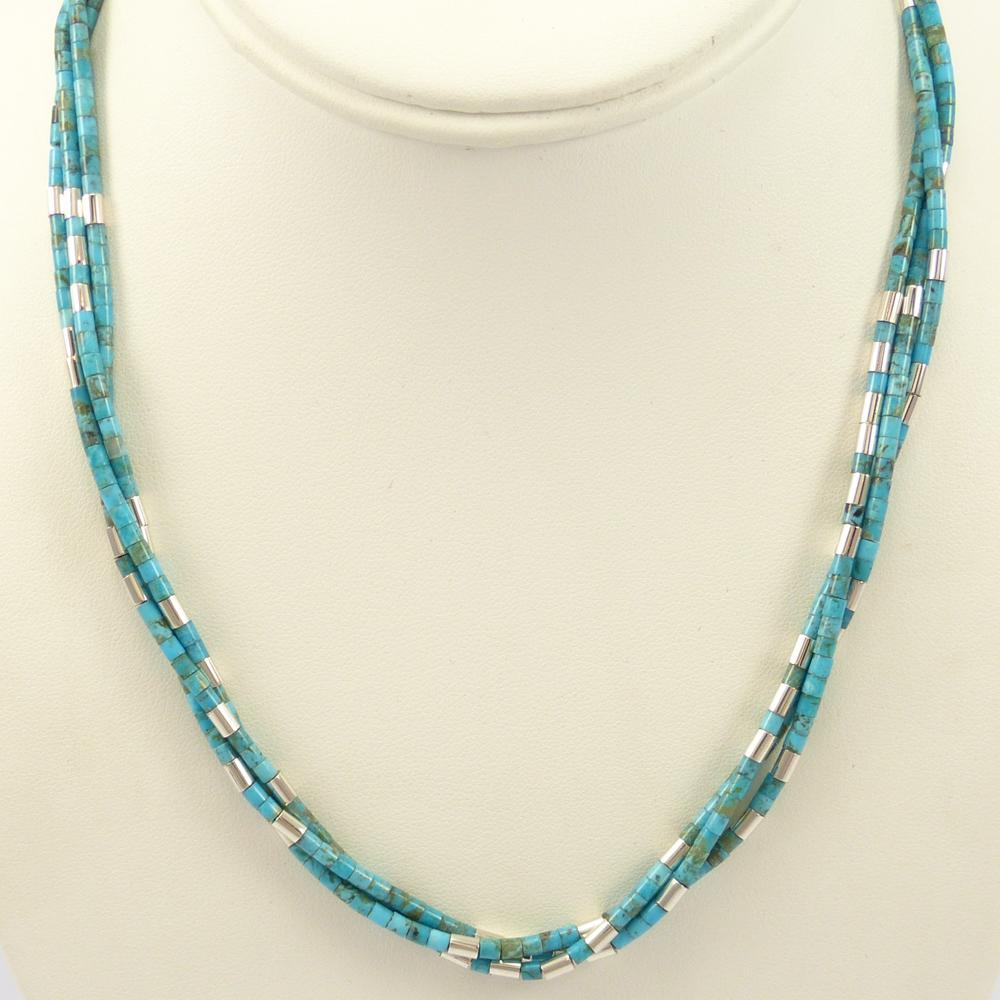 Turquoise and Silver Heishi Necklace