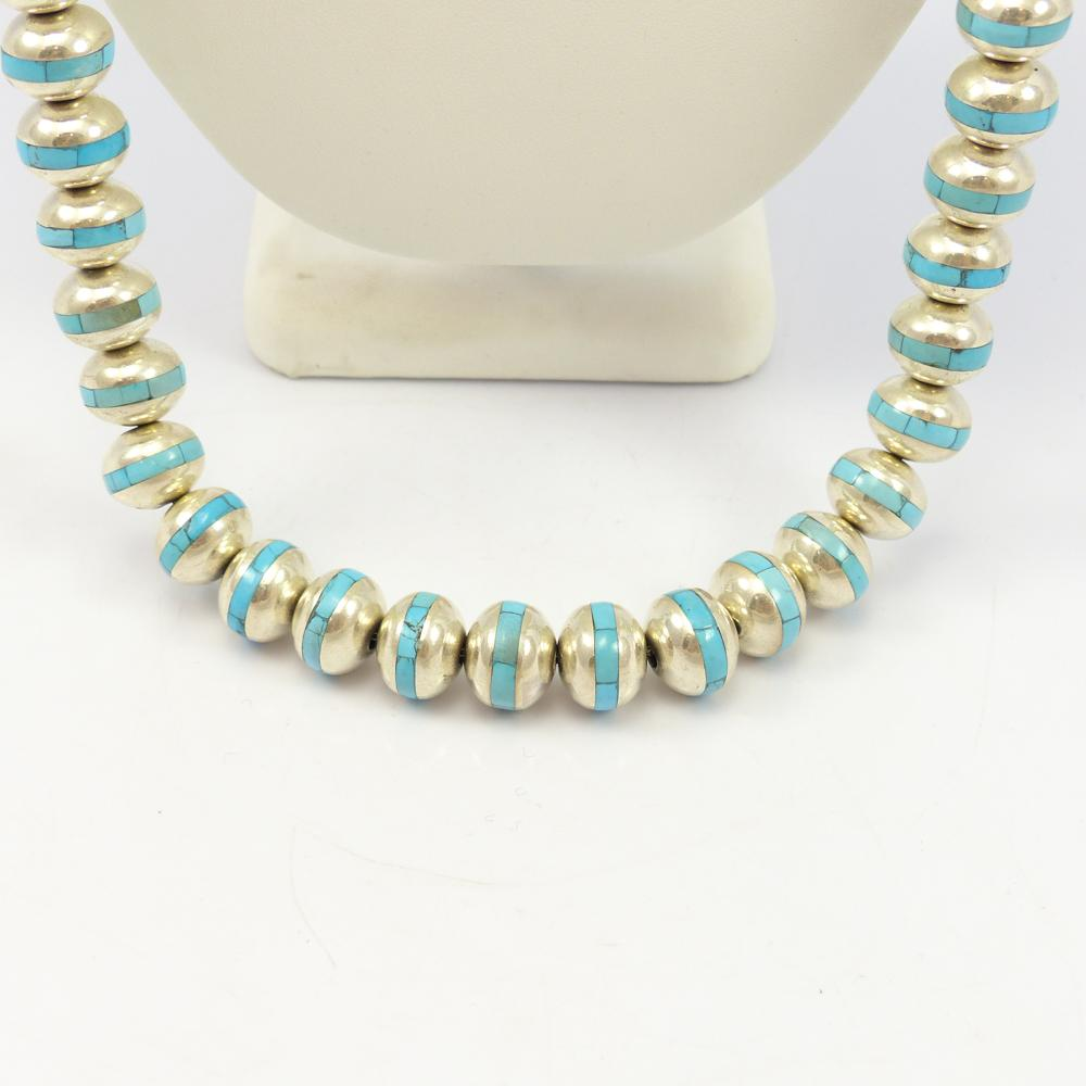 Silver and Turquoise Bead Necklace