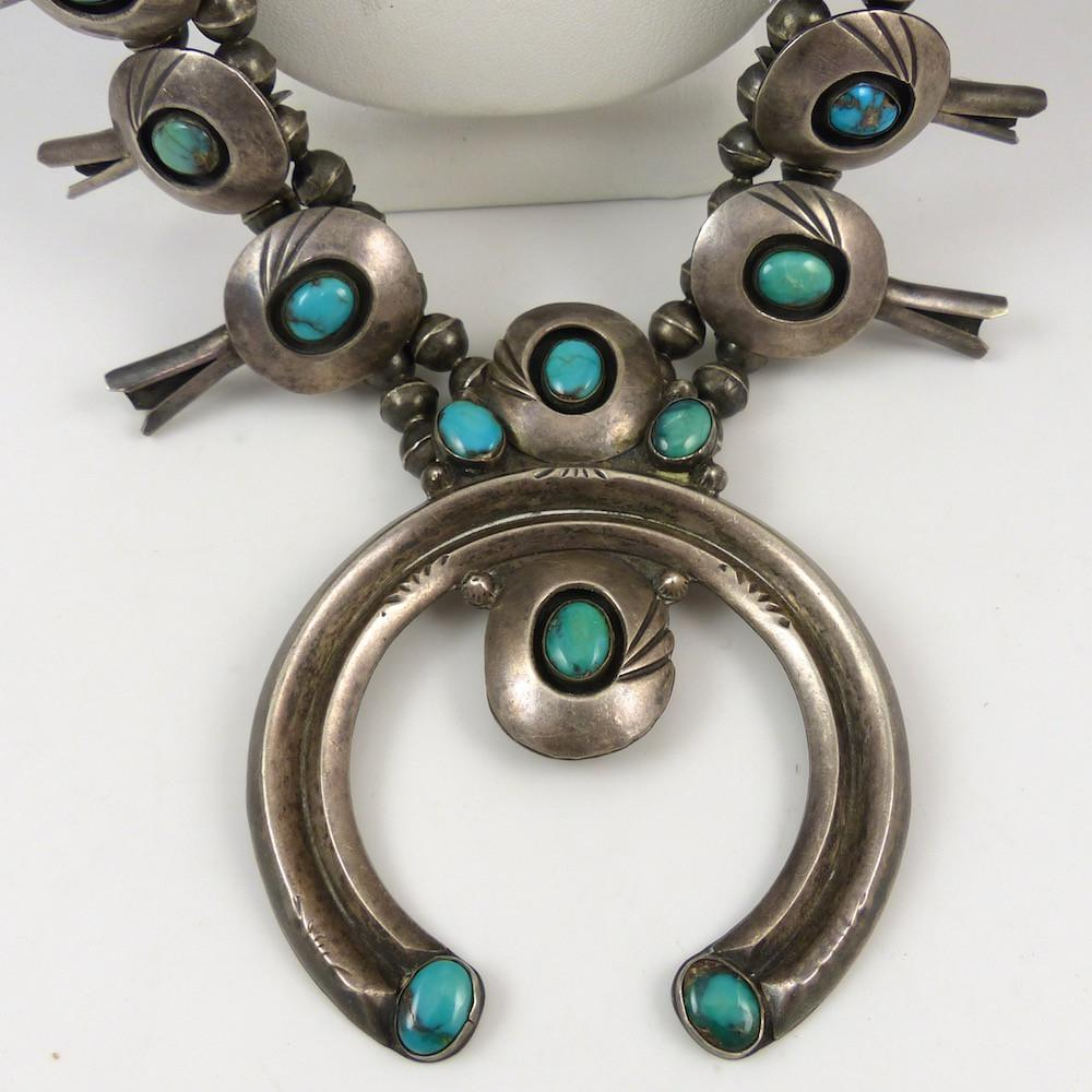 Bisbee Turquoise Squash Blossom - Jewelry - Vintage Collection - 1