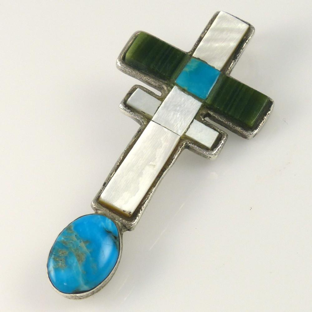 Inlaid Pueblo Cross Pendant - Jewelry - Joel Pajarito - 1