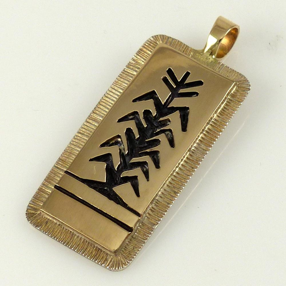 Gold on Silver Corn Stalk Pendant - Jewelry - Watson Honanie - 1