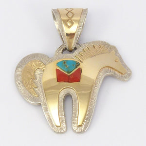 Gold on Silver Horse Pendant